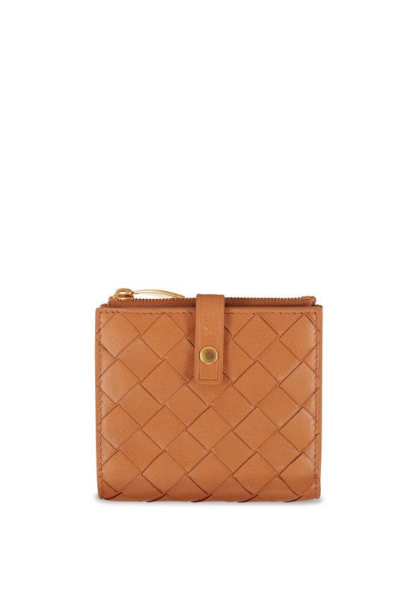 Bottega Veneta Caramel Intreciatto Fold-Over Mini Wallet