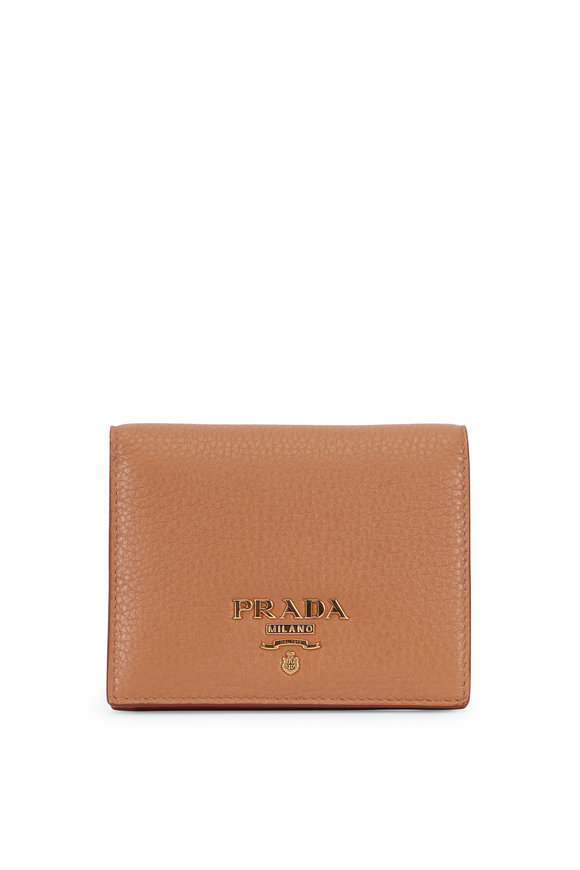 Prada Caramel Grained Leather Small Fold-Over Wallet
