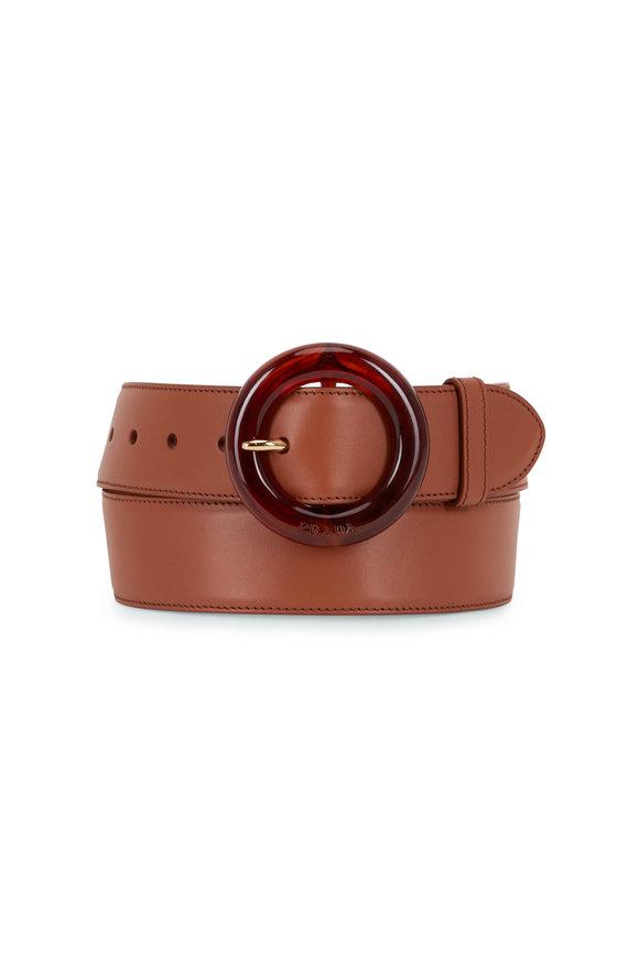 Prada Cognac Leather With Tortoise Round Buckle Belt