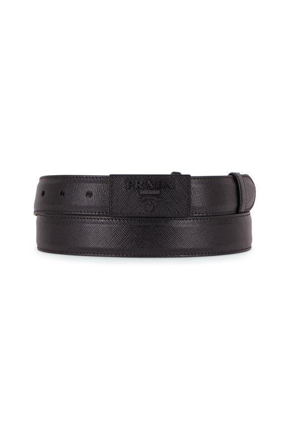 Prada Black Saffiano Logo Buckel Waist Belt