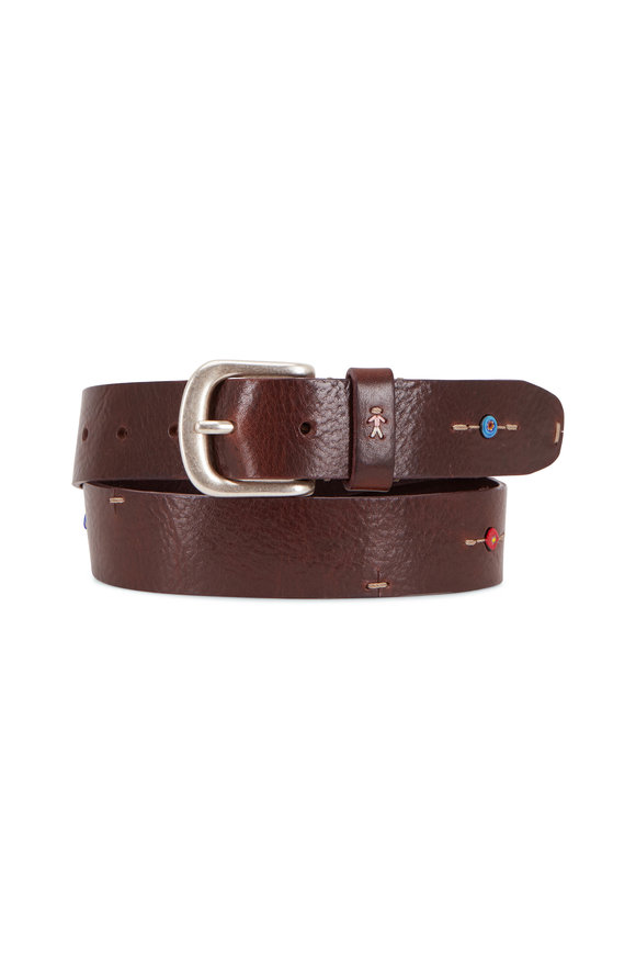 Henry Beguelin Pizzico Brown Leather Multi Stone Belt