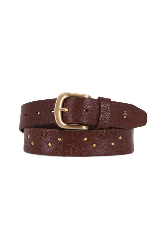 Henry Beguelin Margaret Brown Floral Embossed Leather Belt