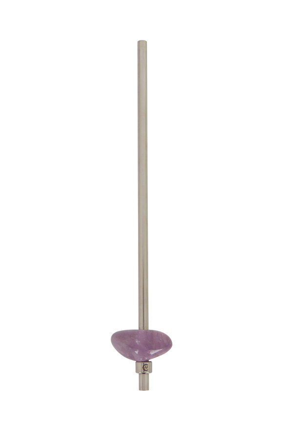 Gem Water Silver & Amethyst Metal Straw