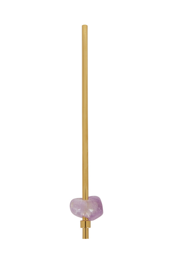 Gem Water Yellow Gold & Amethyst Metal Straw