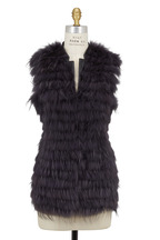 Viktoria Stass - Dark Gray Fur & Leather Vest