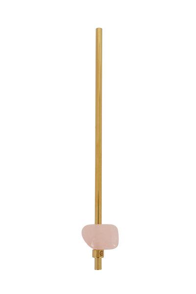 Gem Water - Yellow Gold & Rose Quartz Metal Straw