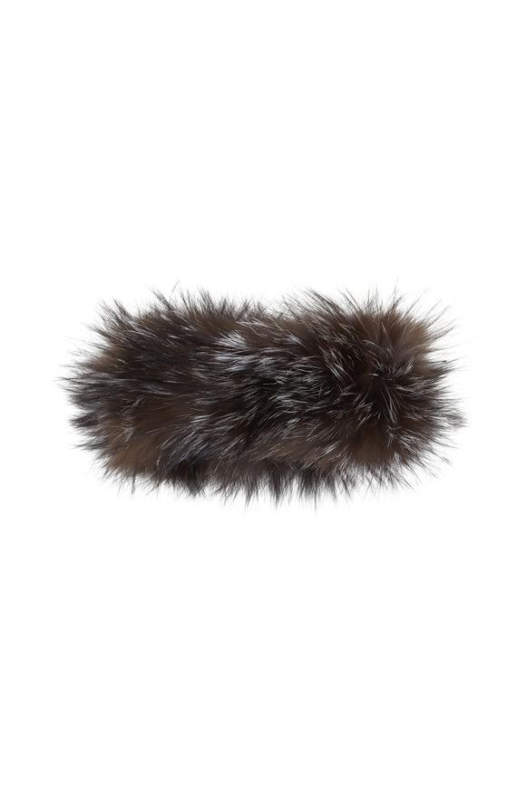 Viktoria Stass Silver Knitted Fox Fur Headband
