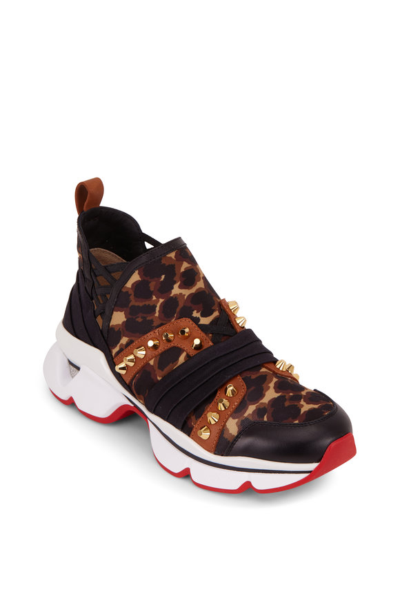 Christian Louboutin Run Flat Black & Marron Leopard Print Sneaker