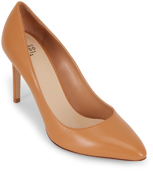 Francesco Russo  Light Tan Nappa Leather Classic Pump, 90mm