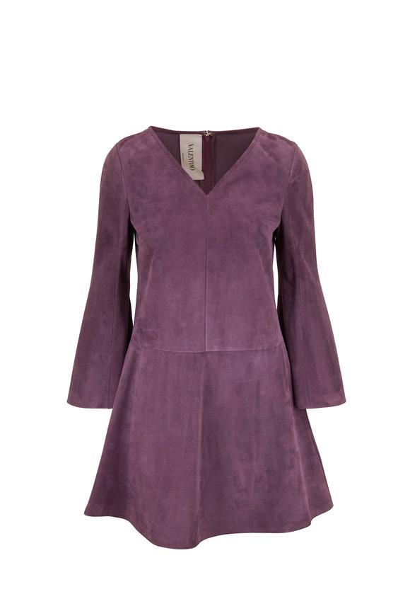 Valentino Violet Suede V-Neck Bell Sleeve Dress