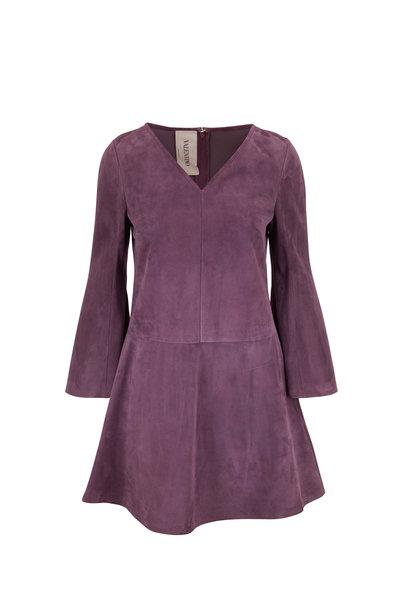 Valentino - Violet Suede V-Neck Bell Sleeve Dress