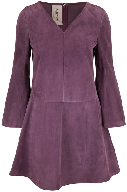 Valentino Violet Suede V-Neck Bell Sleeve Dress