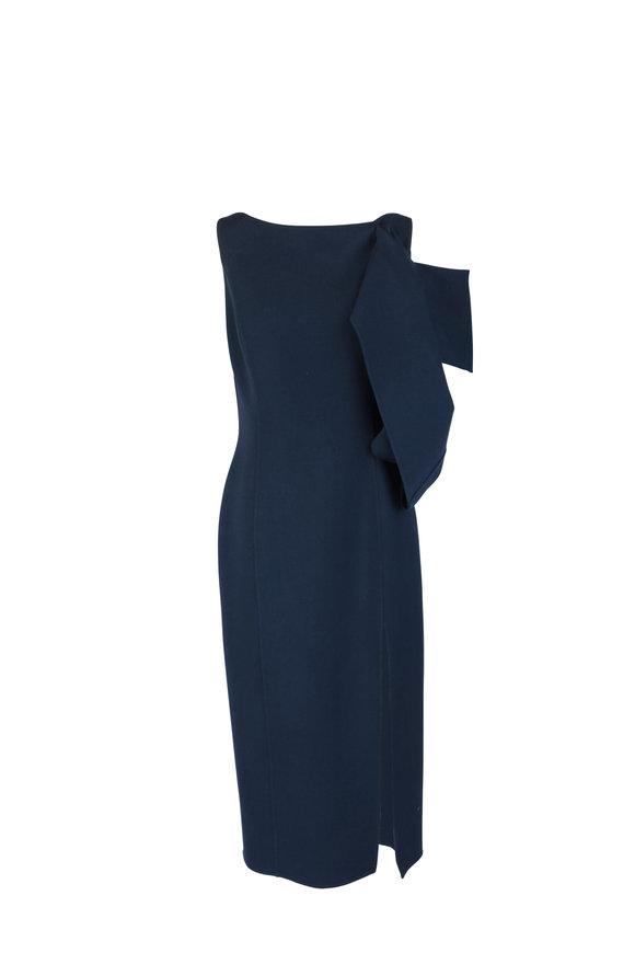 Oscar de la Renta Navy Blue Wool Crêpe Shoulder Cut-Out Dress