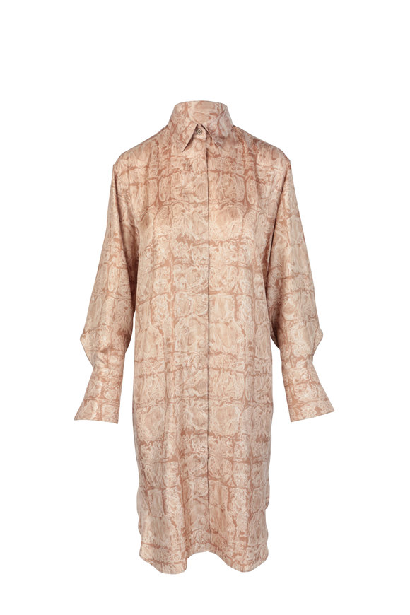 The Row Sonia Ginger Marbled Silk Shirtdress