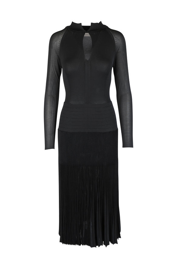 Victoria Beckham Black Pleated Knit Midi Dress