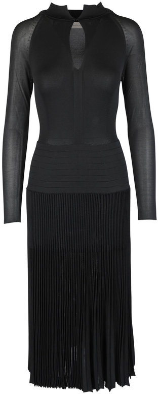 Victoria Beckham Black Pleated Knit Midi Dress