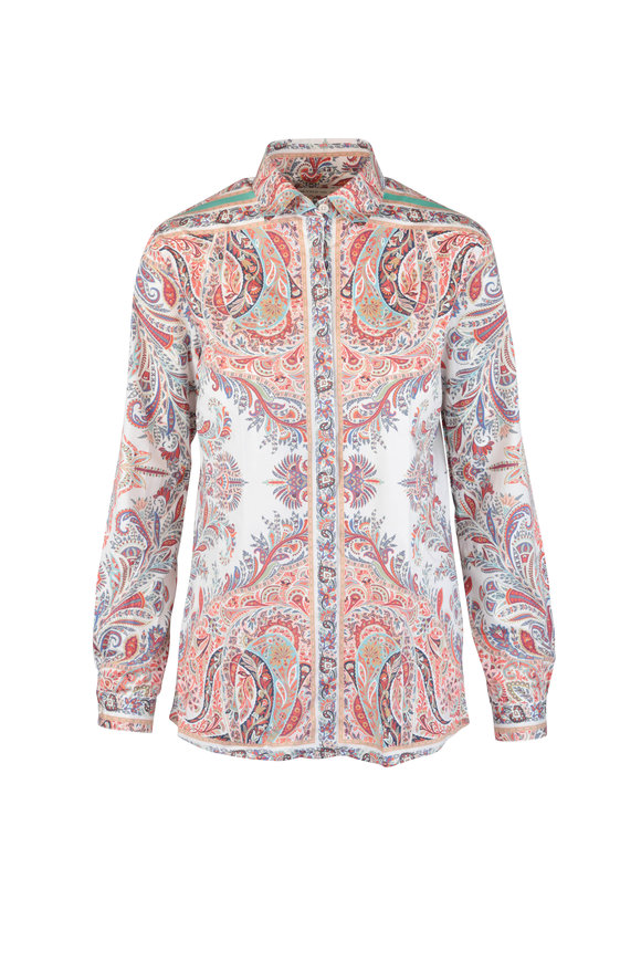 Etro Red Paisley Stretch Cotton Button Down