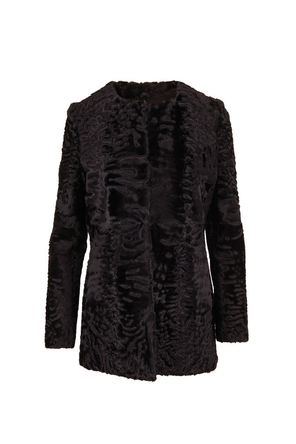 Oscar de la Renta Furs Black Persian Lamb Coat