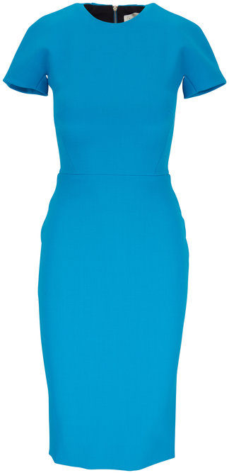 Victoria Beckham Turquoise Fitted Short Sleeve T-Shirt Dress