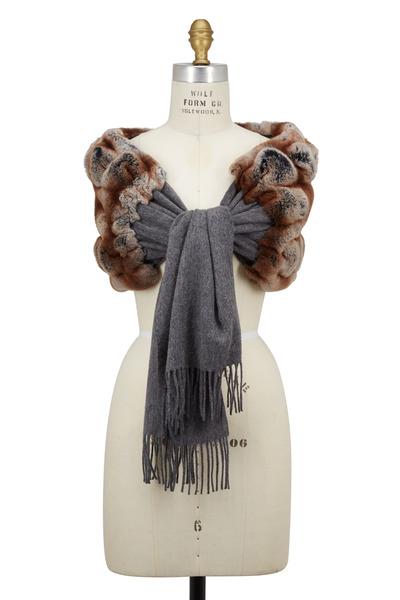 Viktoria Stass - Gray Cashmere & Fur Shoulder Wrap
