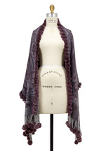 Viktoria Stass - Purple Wool & Fur Pom Pom Reversible Shawl