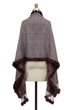 Viktoria Stass - Burgundy Wool & Fur Pom Pom Reversible Shawl