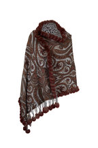 Viktoria Stass - Brown Cashmere & Fur Pom Pom Reversible Shawl
