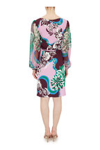 Pucci - Green, Pink & Burgundy Chiffon Sleeve Dress