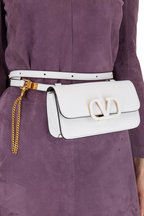 Valentino Garavani - VSling White Grained Leather Belt Bag
