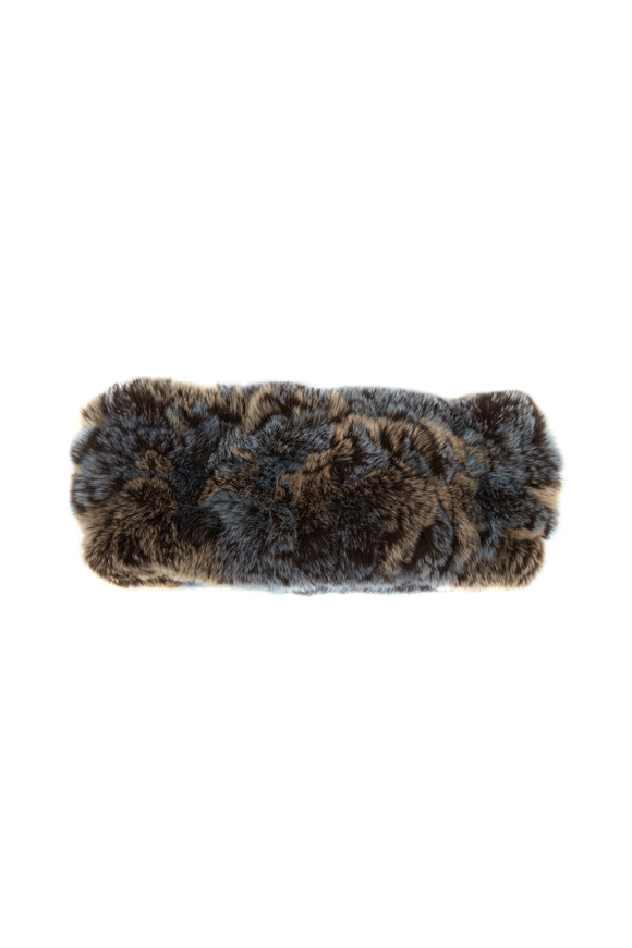 Viktoria Stass Blue & Taupe Multicolor Fur Headband