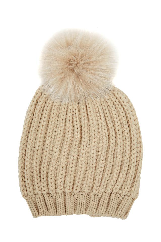 Beige Heavy Ribbed Knit & Fur Pom Pom Hat