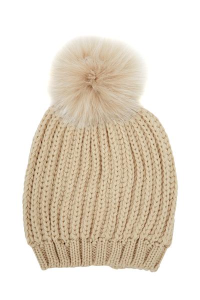 Viktoria Stass - Beige Heavy Ribbed Knit & Fur Pom Pom Hat