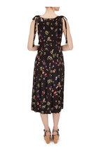 Andamane - Abito Black Multi Floral Sleeveless Midi Dress