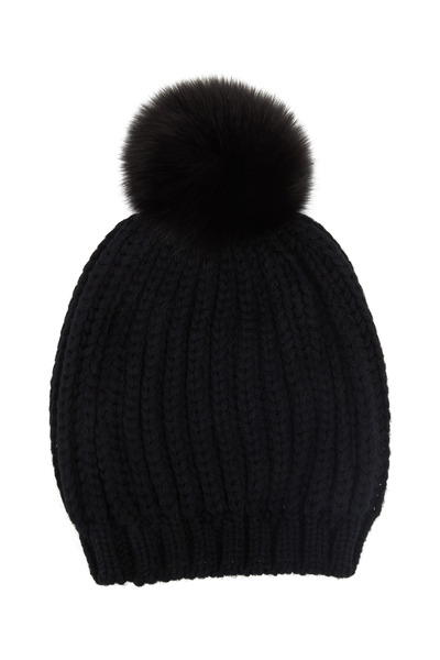 Viktoria Stass - Black Heavy Ribbed Knit & Fur Pom Pom Hat