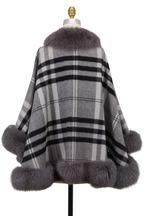 Viktoria Stass - Prince Gray Large Plaid Cashmere & Fox Fur Cape