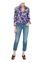 Dolce & Gabbana - Purple Anemone Floral Print Button Down Blouse