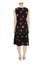 Carolina Herrera - Black Front Bow Embroidered Sleeveless Dress