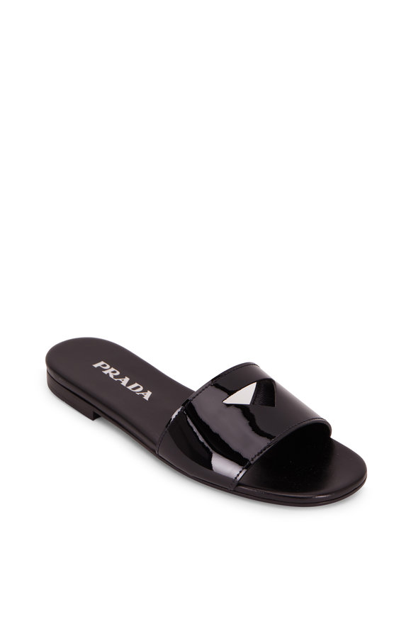 Prada Black Patent Leather Cut-Out Logo Flat Slide