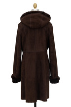 Viktoria Stass - Chocolate Brown Shearling With Mink Trim Coat