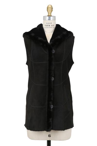 Viktoria Stass - Black Shearling Mink Trim Vest
