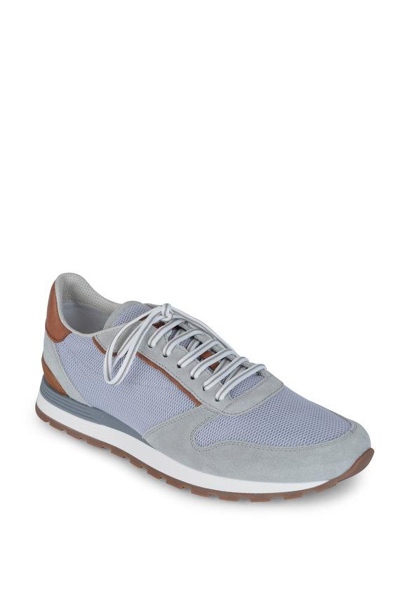 Brunello Cucinelli Gray Mesh & Suede Running Sneaker