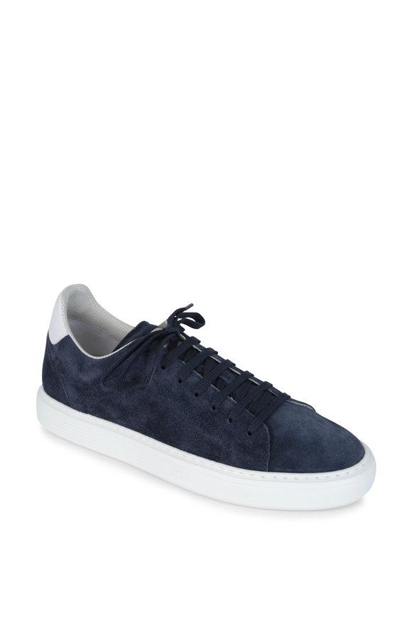Brunello Cucinelli Dark Blue Suede Sneakers