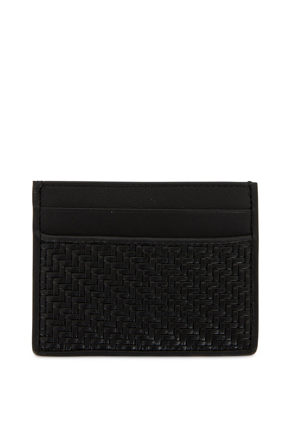 Ermenegildo Zegna Black Woven Leather Card Case