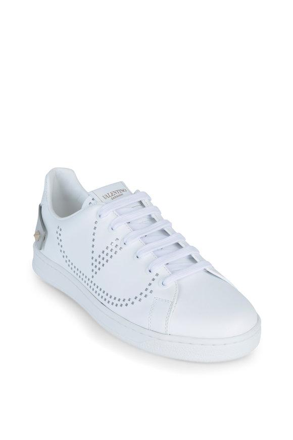 Valentino Garavani Backnet White & Silver Leather Studded Sneaker