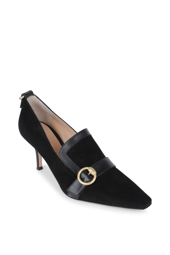 Gianvito Rossi Black Suede & Leather Trim Ring Loafer, 70mm