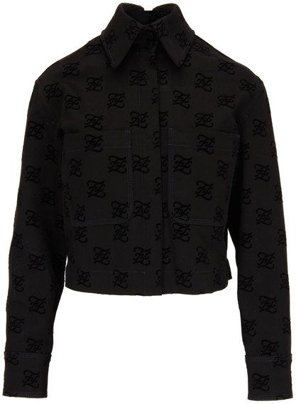 Fendi Black Tonal Karligraphy Denim Jacket
