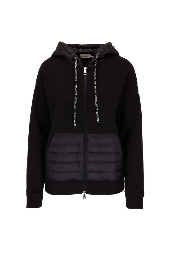 Moncler Black Cotton Mixed-Media Drawstring Hoodie