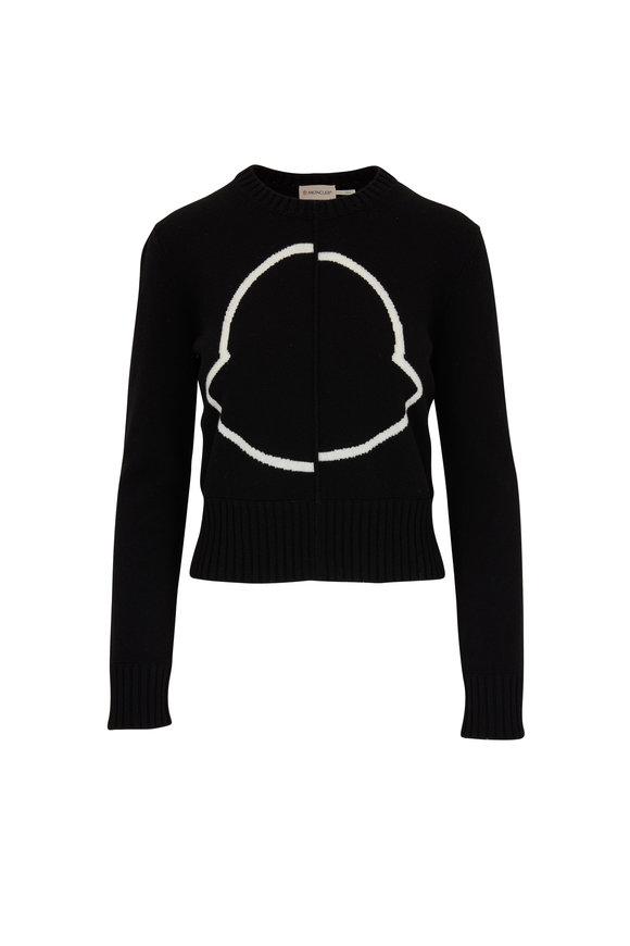 Moncler Black Wool & Cashmere Intarsia Logo Sweater