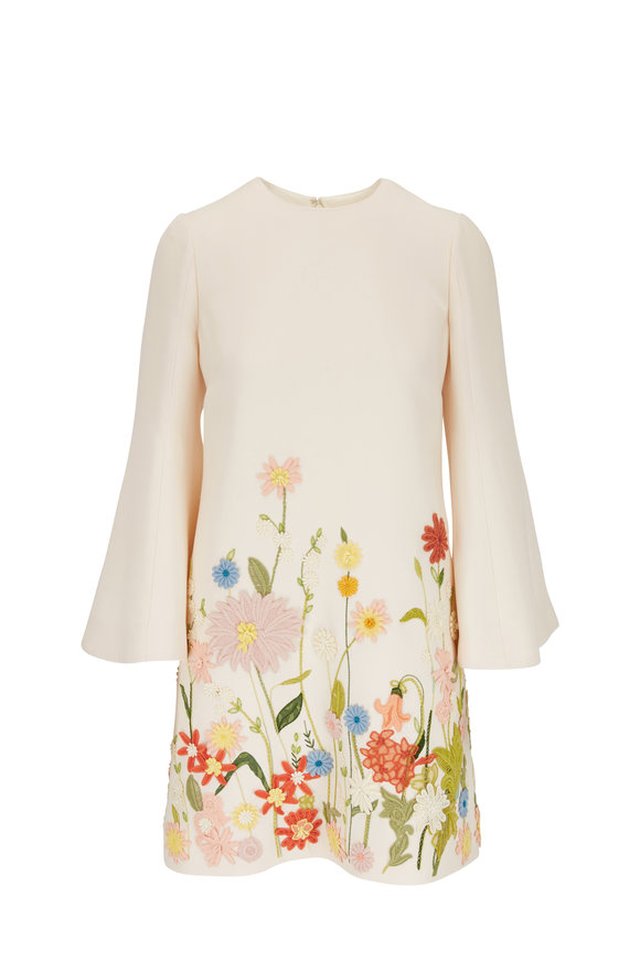 Valentino Ivory Crepe Couture Embroidered Long Sleeve Dress