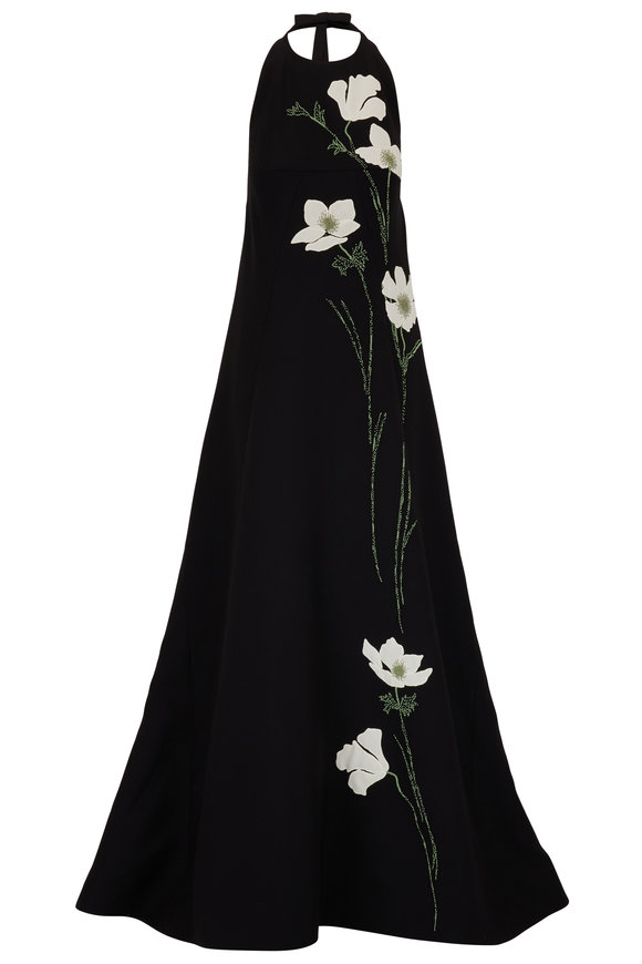 Valentino  Crêpe Couture Black Poppy Floral Halter Gown